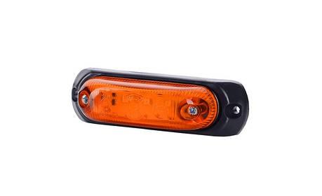 Габаритно - контурный, овальный фонарь с диодом LED и резиновой подкладкой, оранжевый, 12/24 V, 0,5 м кабель, фото 2