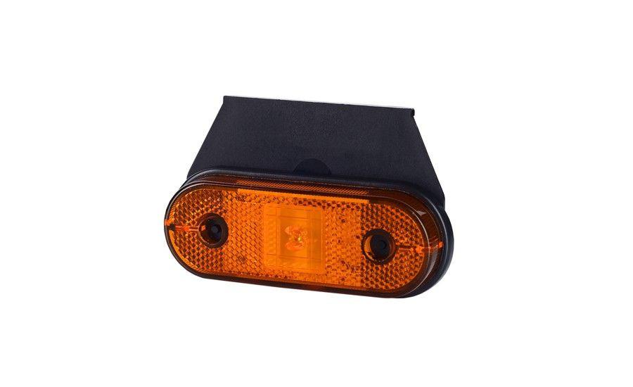 Габаритно - контурный фонарь HOR 61, оранжевый, с диодом LED, отражателем и с кронштейном, кабель 0,5 м, 12/24 V
