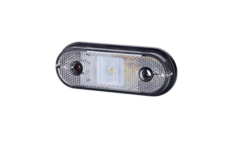 Габаритно - контурный фонарь HOR 61, белый, с диодом LED и отражателем, кабель 0,5 м, 12/24 V, на винтах