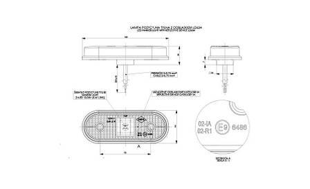 Габаритно - контурный фонарь HOR 61, красный, с диодом LED и отражателем, кабель 0,5 м, 12/24 V, на винтах, фото 2