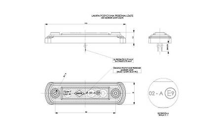Габаритно - контурный фонарь с диодом LED, белый, 12/24 V, 0,25 м кабель, фото 2