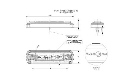 Габаритно - контурный фонарь с диодом LED, оранжевый, 12/24 V, 0,25 м кабель, фото 2