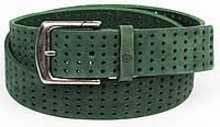 Женский ремень с перфорацией, нубук, Vanzetti, Германия, 100285 зеленый, 4х114 см