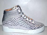Модные сникерсы кожаные серебро Uk0170