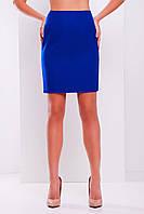 Прямая синяя юбка до колен электрик мод. №1