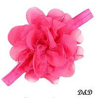 Повязка на голову для девочки, цветок малиновый, фото 1