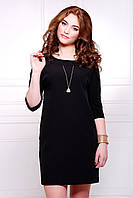 Платье черное прямого силуэта длиной до колена сукня Элика д/р