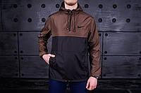 Анорак, ветровка, куртка весенняя, осенняя, черный+коричневый