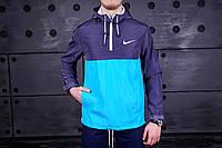 Анорак, ветровка, куртка весенняя, осенняя, фиолетовый+голубой