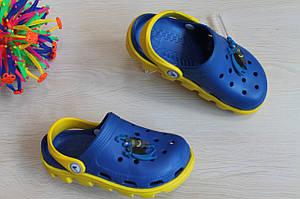 Желто-синие кроксы для мальчика с супергероем тм Виталия Crocs р.  20-21,23-24,28-31,5