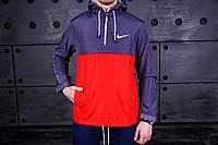 Анорак, ветровка, куртка весенняя, осенняя, красный+фиолетовый