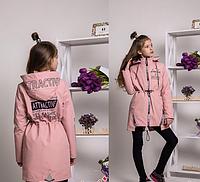 Модная весенняя куртка парка на девочку Токио  Размеры 140, 146, 152 Пудра