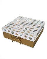 Большая квадратная подарочная коробка ручной работы с принтом из корон