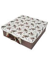 Большая квадратная подарочная коробка ручной работы с принтом из птичек