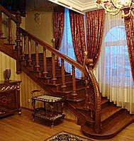 Маршевая  лестница по бетону поворотная из дерева, фото 1
