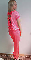 Костюм летний с брюками розовый, фото 1