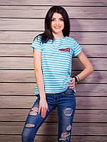 Модная молодежная футболка в полоску из хлопка