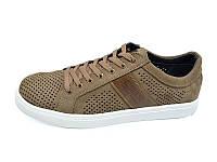 Мужские мокасини с натуральной кожи перфорация Multi Shoes Solo Latte Размер: 43