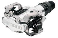Контактные педали МТБ Shimano PD-M520 SPD с шипами  Серебро