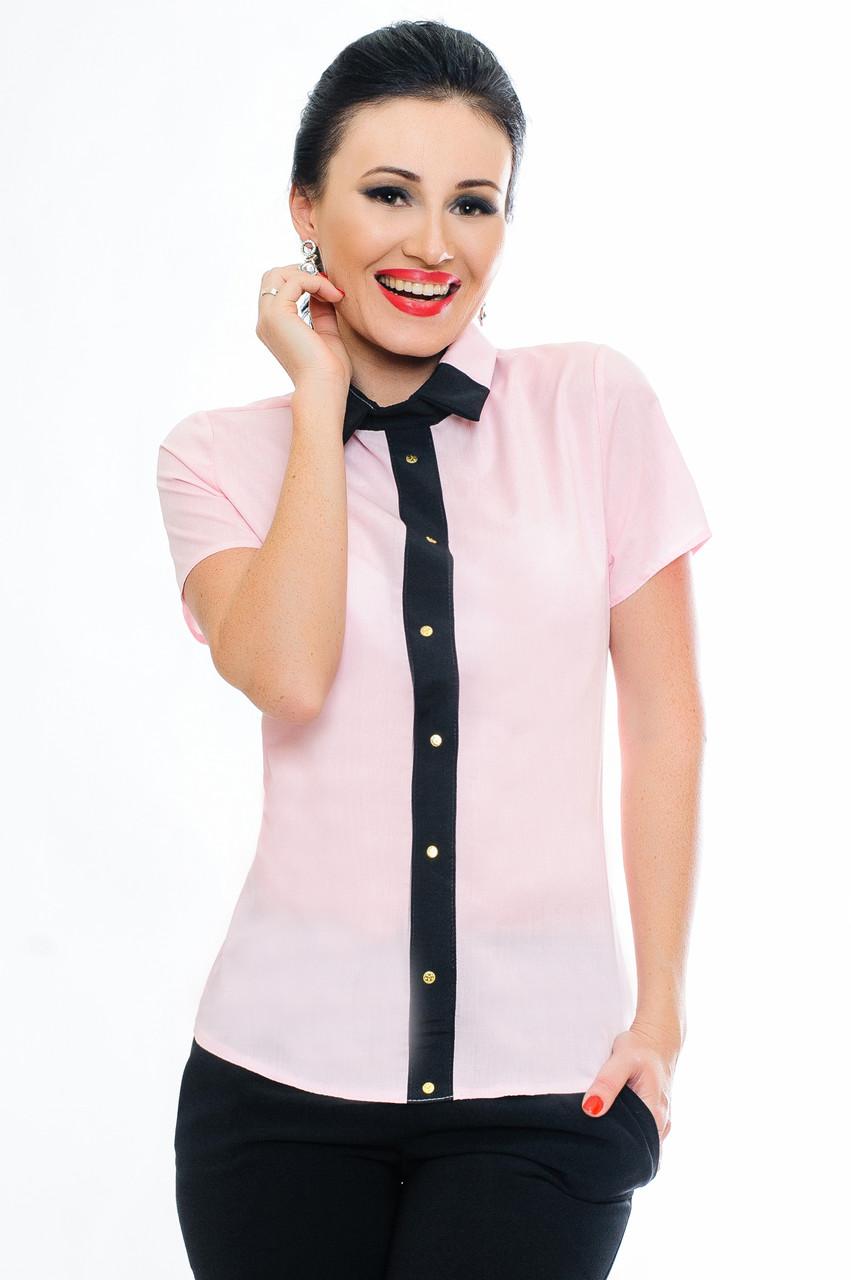 """Блузка с коротким рукавом  """"Oxford"""" нежно-розового цвета"""