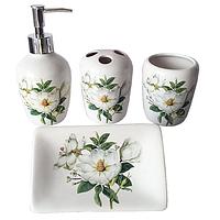 Набор 4предмета (мыльница, подставка для зубных щеток, стакан, диспенсер для мыла) 'Магнолия'