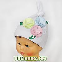 Детская весенняя, осенняя трикотажная шапочка р. 46-50 хорошо тянется ТМ Ромашка 3528 Белый 46