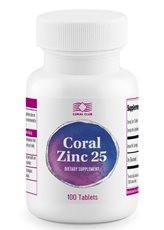 БАД Корал Цинк 25-натуральный цинк,обеспечивает поддержку иммунной и эндокринной  (100 табл.,США