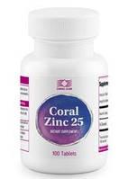 Корал Цинк 25-натуральный цинк,обеспечивает поддержку иммунной и эндокринной систем (100 табл.,США