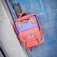 Стильная сумка-рюкзак сиреневый+коралловый