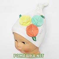 Детская весенняя, осенняя трикотажная шапочка р. 46-50 хорошо тянется ТМ Ромашка 3528 Бежевый 46