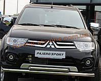 Защита переднего бампера труба двойная из нержавейки на Mitsubishi Pajero Sport 2008-2015