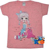 """Летняя детская футболка """"Sweet Life"""" , из трикотажа , для девочек (рост 104-128 см) (5 ед. в уп.)"""