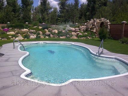 Стекловолоконный бассейн Мичиган 9,80х4,90м, глубина 1,10-1,80м
