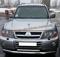 Защита переднего бампера труба двойная из нержавейки на Mitsubishi Pajero Wagon 1999-2006