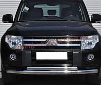 Защита переднего бампера труба двойная из нержавейки на Mitsubishi Pajero Wagon 2006-2014