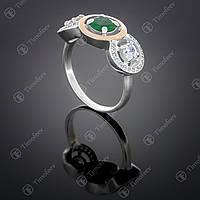 Серебряное кольцо с агатом и цирконами. Артикул П-394