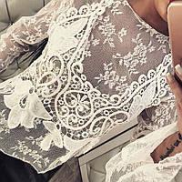 Блуза Вышивка Белая Бохо Кофточка открытые плечи блузка Коттоновая