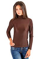 Тонкая водолазка (гольф) женская коричневая с высоким горлом длинный рукав из микрофибры трикотажная (Украина)