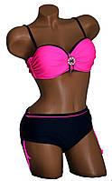 Женский купальник с брошью розового цвета