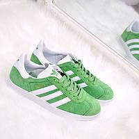 Кроссовки женские Adidas Gazelle зеленые, магазин обуви