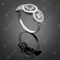 Серебряное кольцо с топазом и цирконами. Артикул П-394