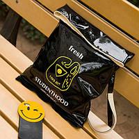 Стильная лаковая сумка-мешок  черный