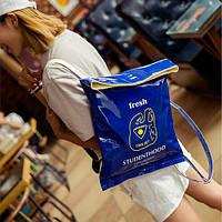 Стильная лаковая сумка-мешок  синий