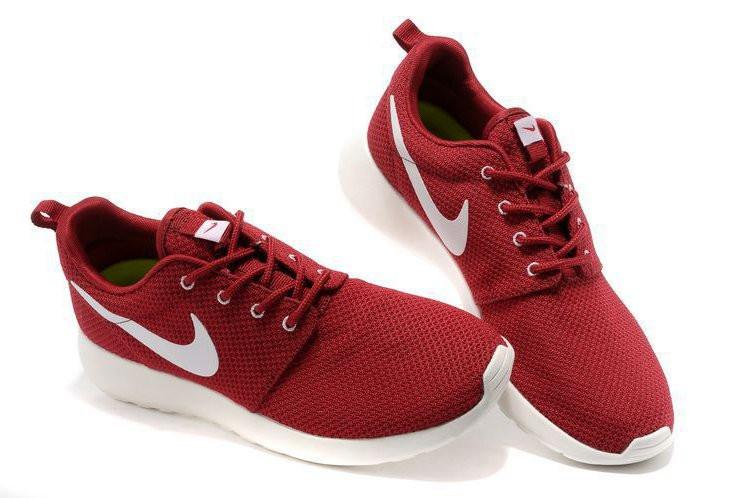 Кроссовки Nike Roshe Run Burgundy Бордовые женские