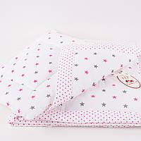 """Комплект стеганный в детскую кроватку """"Розовый звездопад"""""""