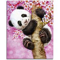 "Картина для рисования камнями Diamond painting Алмазная вышивка ""Панда на дереве"" , фото 1"