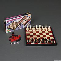 Шахматы 3 в 1 средние в коробке (пластик)