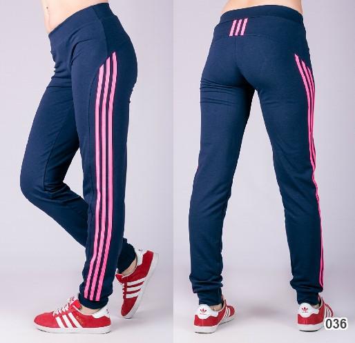 Спортивные штаны женские Три лампаса на манжете (синие)