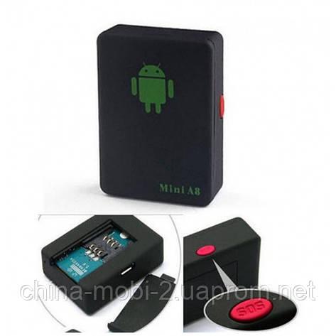 GSM трекер Mini A8 мікрофон, охоронний пристрій з датчиком звуку, кнопка SOS, фото 2