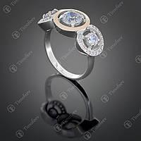 Серебряное кольцо с цирконами. Артикул П-394